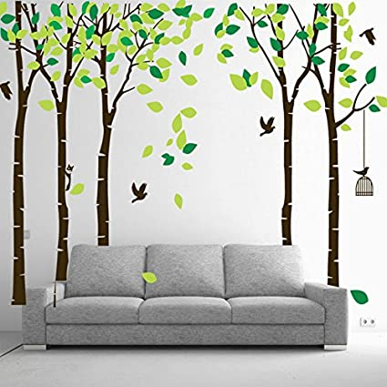 Large Family Tree Wall Decal Wallpaper Wall Mural Removable Tree Wall Decor Peel And Stick Vinyl Wall Stickers For Living Room Bedroom Brown And