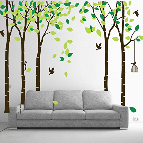 Large Family Tree Wall Decal Wallpaper Wall Mural Removable Tree Wall Decor Peel and Stick Vinyl Wall Stickers for Living Room Bedroom(Brown and Green)