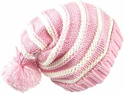 f3b3b6c5394 Sumolux Christmas Hat Warm Knitted Pom Stripe Cuff Beanie Stocking Cap For  Kids Adult Autumn Winter