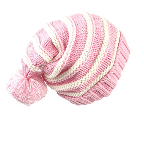 Sumolux Christmas Hat Warm Knitted Pom Stripe Cuff Beanie Stocking Cap For Kids Adult Autumn -