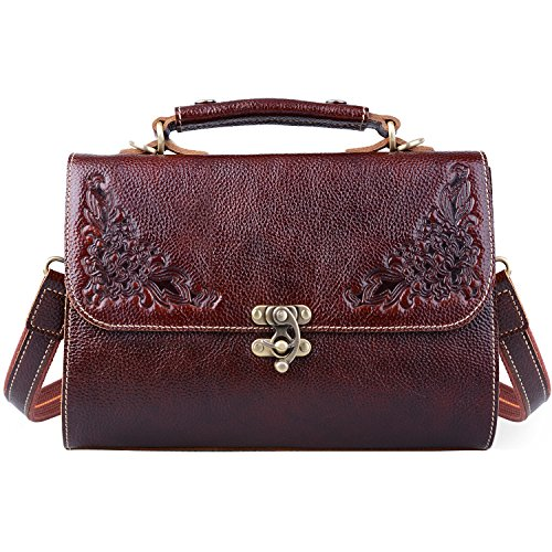 - Jack&Chris Small Vintage Satchel Leather Handbags Floral Purse Top Handle Crossbody Bag for Women