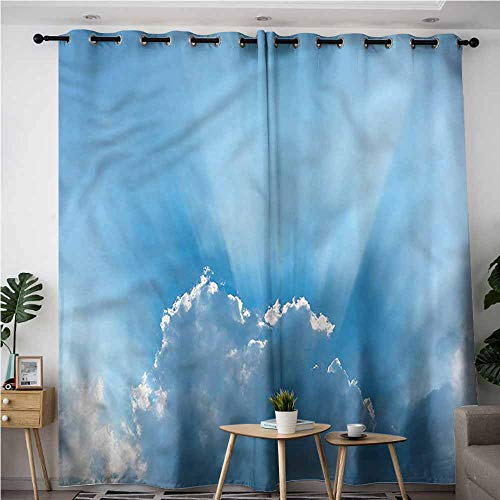 XXANS Living Room/Bedroom Window Curtains,Landscape,Sunburst Silver Lining,Darkening Thermal Insulated Blackout,W108x72L
