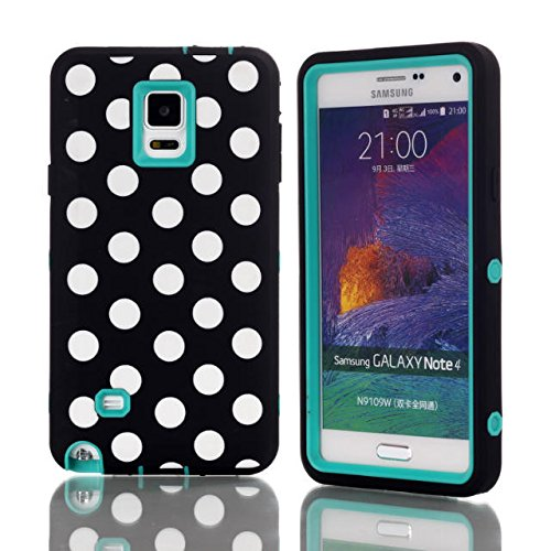 Galaxy Note 4 Case,Lantier Fashion Series - [Cutest Fit] Jelly Silicone Case Soft Cover with Polka Dots for Samsung Galaxy Note 4 (Polka Dots Mint Green) (Polka Note)