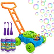 Lydaz Bubble Mower for Toddlers, Kids Bubble Blower Machine Lawn Games, Outdoor Push Toys Gifts for 1 2 3 4 5 Years Old Baby