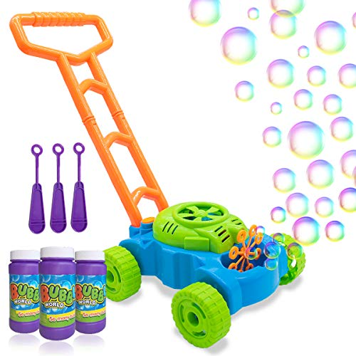 Lydaz Bubble Mower for Toddlers, Kids Bubble Blower Machine Lawn Games, Outdoor Push Toys Gifts for 1 2 3 4 5 Years Old Baby Boys Girls (Lawn Mower For Kids)