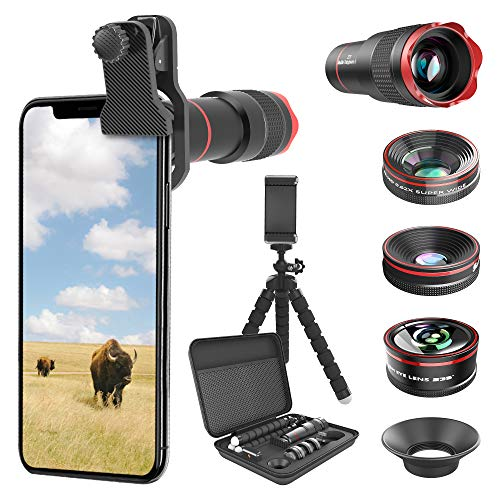 Phone Camera Lens Kit 9 in 1: 22X Telephoto Lens, 205° Fisheye Lens, 0.5X Wide Angle Lens & 25X Macro Lens, Compatible with iPhone 8 7 6 6s Plus X XS XR Samsung (Fisheye Camera Lens Phone)