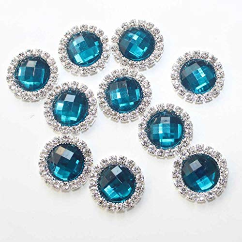 10x Crystal Flatback Rhinestone Gem Buttons Wedding Embellishment Craft Hair Bow (Color - Blackish ()