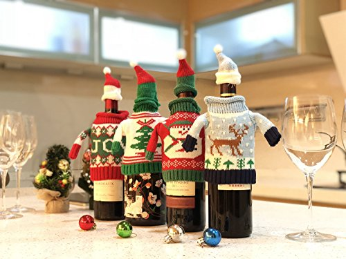 FEFEHOME Christmas Wine Bottle Cover Gift Warping Ugly Sweater (Set of 4) -(F) by FEFEHOME (Image #7)