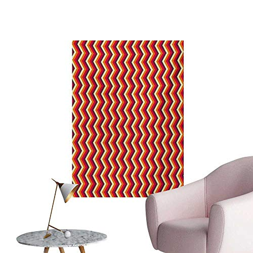 (Anzhutwelve Retro Painting Post Vintage Zig Zag Chevron Motif in Funky Dynamic Parallel Stripe GraphicYellow Orange Red Maroon W24 xL36 Poster Paper)