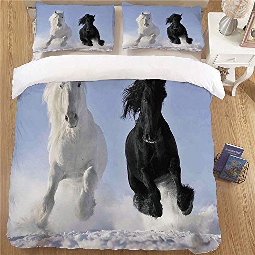 (Super Sof Duvet Cover Children Comforter Cover,Queen Size,3pc with Zipper Closure Horses Competing Racing Black and White Horses on Snow Good and Evil Mythical Symbolic Creatures Blue)