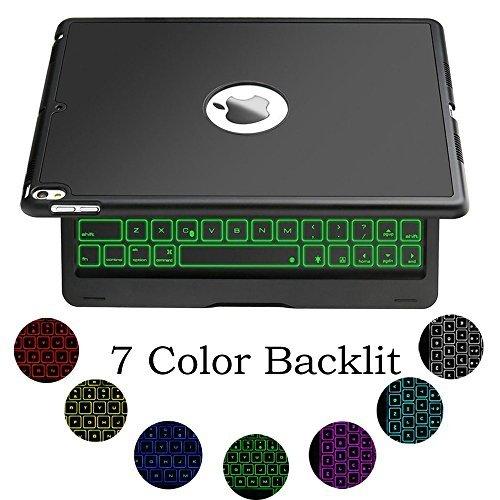 Jiijian 9 7 Inch Ipad Air 1 Keyboard Case  7 Color Led Backlit Wireless Bluetooth Keyboard Auto Sleep Wake Function Protective Smart Folio Case Cover For 9 7 Inch Ipad Air  Black