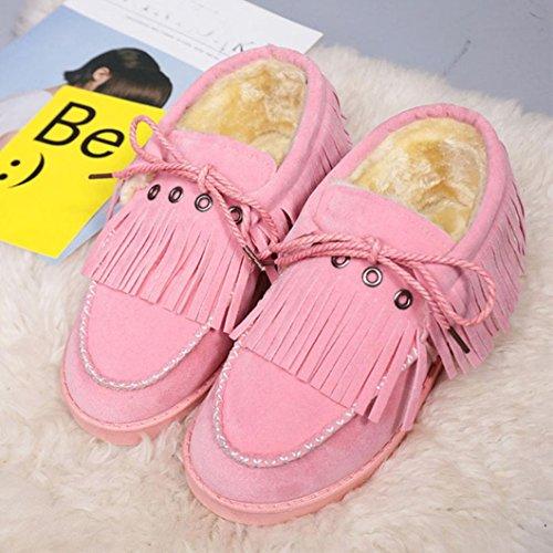 Transer® Damen Warm Weich Mokassins Casual Schuh Baumwolltuch+Gummi (Bitte achten Sie auf die Größentabelle. Bitte eine Nummer größer bestellen. Vielen Dank!) (37, Pink)