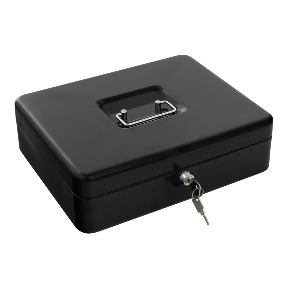 Rottner Geldkassette Traun 4 schwarz Geldzä hlkassette, Kasse mit unterteilten Geldeinsatz und Zylinderschloss 2740