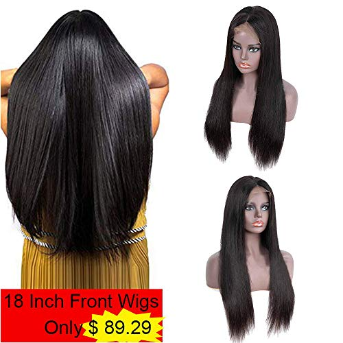 IUEENLY Brazilian Straight Lace Front Wigs Human Hair 13x4 Lace Front Wig For Black Women Pre Plucked with Baby Hair Natural Black 150% Density - 24 Wig Straight