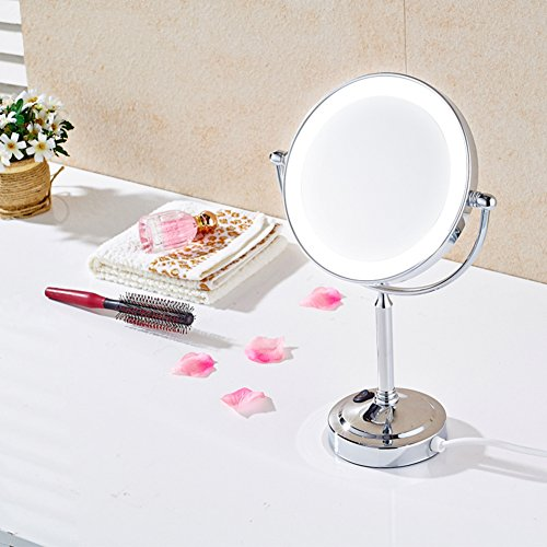 high-quality vanity mirror/[band]LED light makeup mirror/High-end desktop mirror on both sides/ HD magnifying glass-A