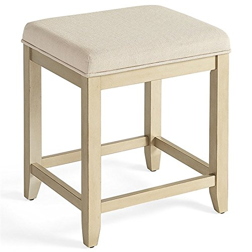 Crosley Furniture CF7007GL-CR Vista Vanity Stool, Distressed Gold with Crème Linen Seat (Gold Furniture Distressed)