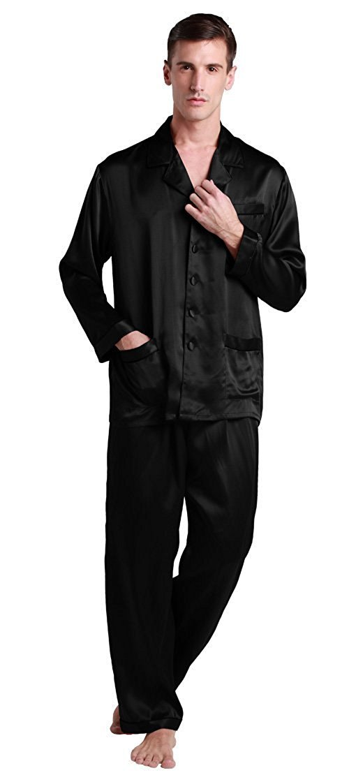 LILYSILK Men 22 Momme Long Silk Pajamas Set Contrast Trim Real Mulberry Loungewear Soft Luxury 100% Pure Silk Black L