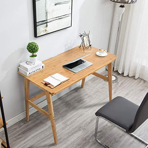 Nnewvante Writing Computer Desk 46″ Bamboo Home Office Table