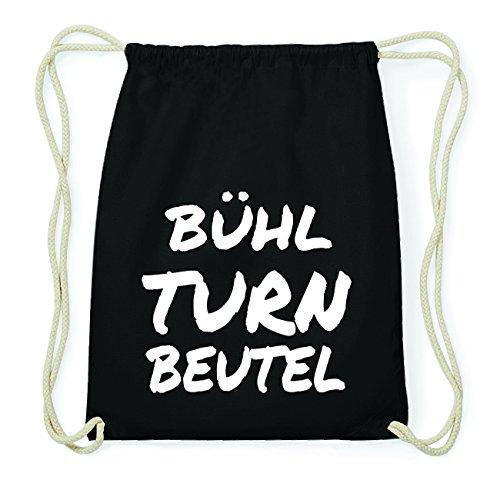 JOllify BÜHL Hipster Turnbeutel Tasche Rucksack aus Baumwolle - Farbe: schwarz Design: Turnbeutel
