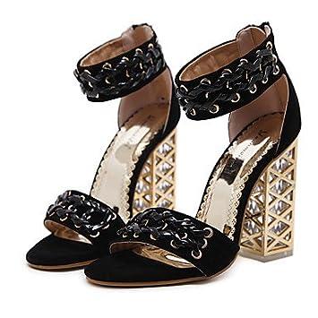 FSCHOOLY Womens Shoes Printemps Été Similicuir Nouveauté Confort Bottes Mode Sandales Talon Rouge Noir Occasionnel Pour Les Mariages,Rouge,Us6 / Eu36 / Uk4 / Cn36