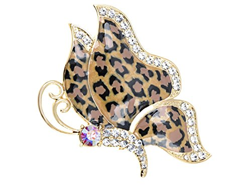 Alilang Golden Tone Butterfly Insect with Enamel Wild 80s Cheetah Cat Pattern Wing Animal Brooch ()