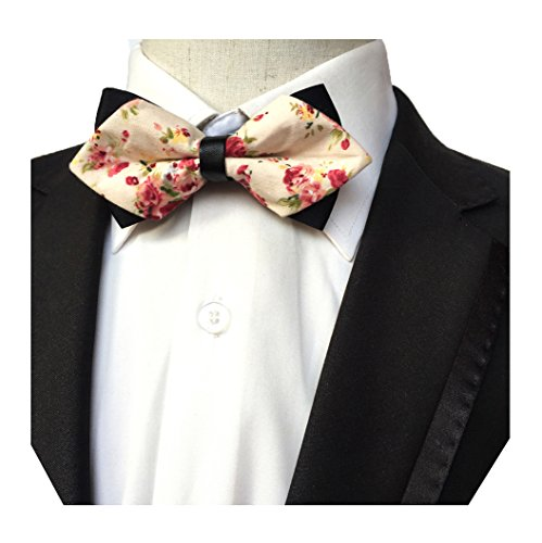 Paisley Adultes Bowtie Hommes Mendeng Réglables Arc Fleur Floral Liens Robe Cravate Rose