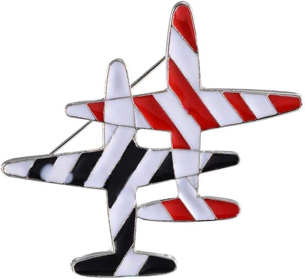 palettei Black /& Red Stripe Airplane Brooch Pins Enamel Cartoon Plane Corsage Women Men Costumes Aircraft Brooch Jewelry Accessory