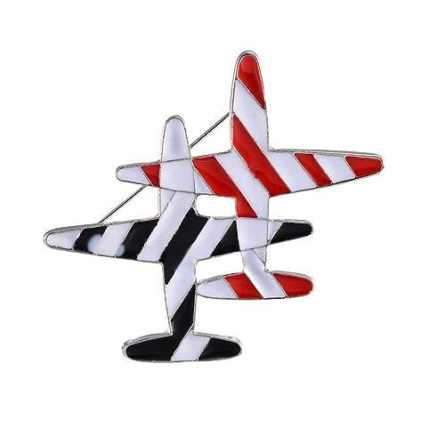 palettei - Broche de avión, diseño de Rayas Rojas y Negras, esmaltado, con Dibujos Animados, para Mujeres, Hombres, Disfraz, Accesorios de joyería: ...
