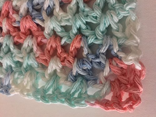 Crochet cotton dish cloths wash cloths in multi colors set of 3 Color Dishcloth Sets