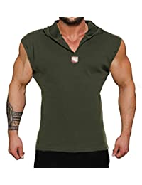 COOFANDY Men's Sleeveless Hooded Vest Casual Tank Tops Sport Tee Shirts