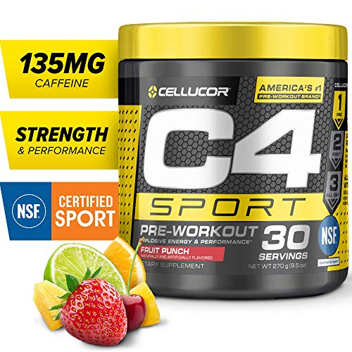 C4 Sport Pre Workout Powder Fruit Punch   NSF Certified for Sport + Sugar Free Pre-Workout Energy Supplement for Men & Women   135mg Caffeine + Creatine Monohydrate   30 Servings