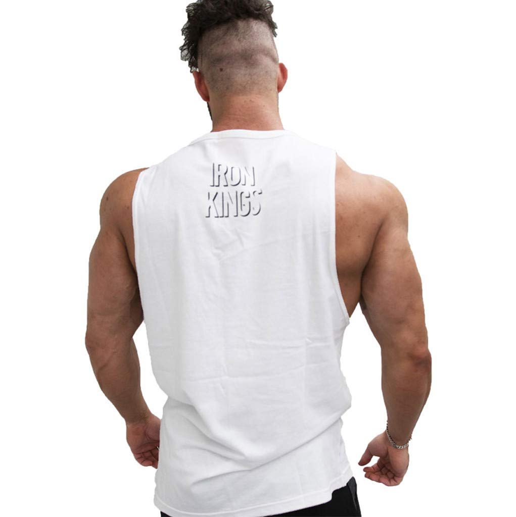 Men Round Neck Print Vest, Male Fashion Solid Color Tank Slim Blouse 2019 New Casual Summer Top Clearance