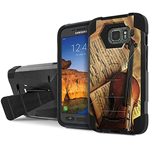 AT&T [Galaxy S7 Active] Armor Case [NakedShield] [Black/Black] Tough ShockProof [Kickstand] Phone Case - [Violin and Note] for Samsung Galaxy [S7 Active] Sales