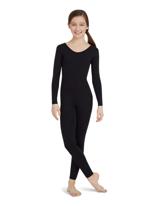 Capezio Big Girls Team Basic Long Sleeve Unitard Black Large