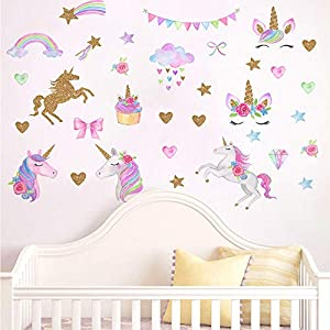 [2 PCS] Unicorn Wall Decals, Romantic Unicorn Wall Stickers Girls Bedroom, Unicorn Wall Stickers Decorations, Wall Decor with Clouds