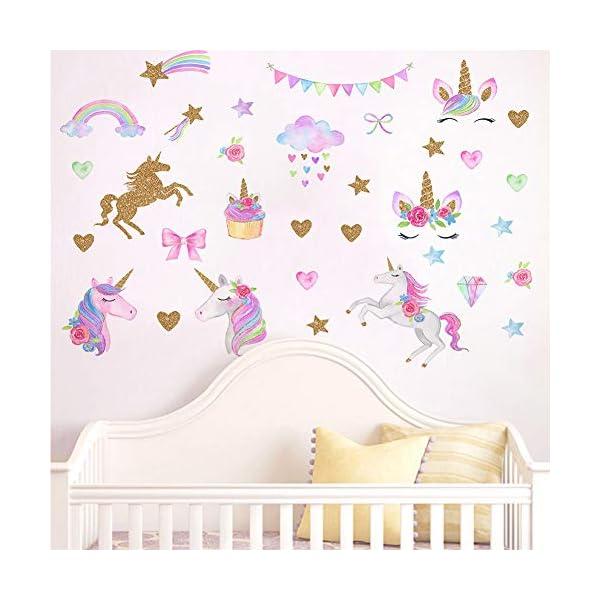 [2 PCS] Unicorn Wall Decals, Romantic Unicorn Wall Stickers Girls Bedroom, Unicorn Wall Stickers Decorations, Wall Decor with Clouds 3
