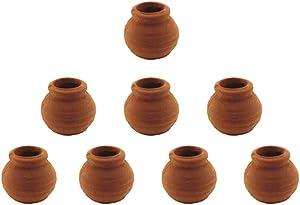 Hiawbon Dollhouse Mini Clay Pots Pottery Planter, Flower Terra Cotta Pots, for Garden Plants DIY Home and Office/Desktop/Windowsill Decoration, 8 Pcs