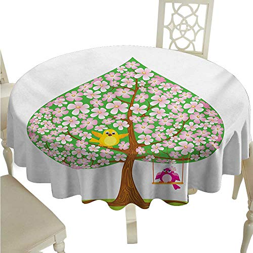 cordiall Animal Easy Care Tablecloth Heart Shape Spring Tree with Flowers Blossom and Singing Bird Valentines Love Indoor Outdoor Camping Picnic D36 Pink Green Brown
