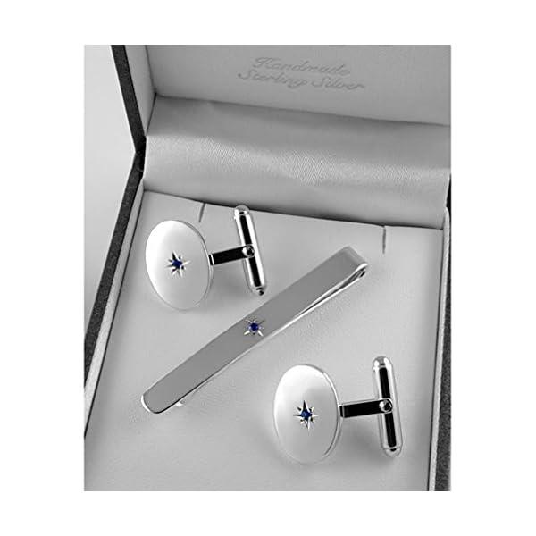 Sterling-silver-sapphire-tie-slide-cufflink-set