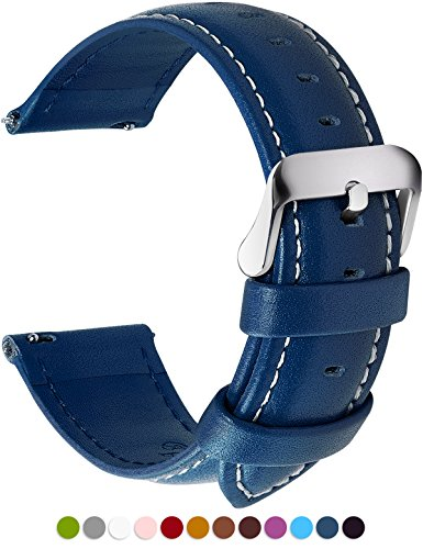 Blue Leather Strap - 12 Colors for Quick Release Leather Watch Band, Fullmosa Axus Genuine Leather Watch Strap 22mm Dark Blue