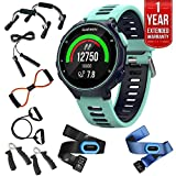 Garmin Forerunner 735XT GPS Running Watch Tri-Bundle - Midnight Blue (010-01614-04) + 7-in-1 Total Resistance Fitness Kit + 1 Year Extended Warranty