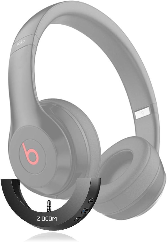 ZIOCOM Adaptador Bluetooth inalámbrico para Auriculares Beats Solo 2 con Auxiliar de 3,5 mm, micrófono Incorporado, Llamadas Manos Libres, conexión Dual, Control de Volumen, Negro (Solo Adaptador)