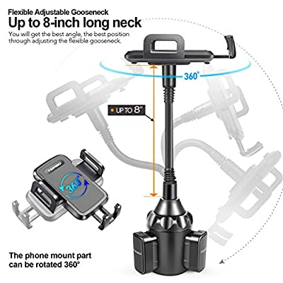 [Upgraded] Car Cup Holder Phone Mount Adjustable Gooseneck Automobile Cup-Holder-Phone-Car-Mount for iPhone 11 Pro/XR/XS Max/X/8/7 Plus/6s/Samsung S10+/Note 9/S8 Plus/S7 Edge(Black)