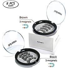 8 Pcs Magnetic Eyelashes Full Eye Isdream Magnetic Fake Eye Lashes Magnet Eyelashes Lashes 3 Magnets 3D Reusable Hand-made Extension Soft False Eyelashes 3 Lash Magnetic No Glue for Natural Look