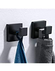 TURS SUS 304 Stainless Steel Bath Coat Hook Single Towel/Robe Clothes Hook for Bath Kitchen Garage Heavy Duty Contemporary Hotel Style Wall Mounted, Black Finished,2 Packs.