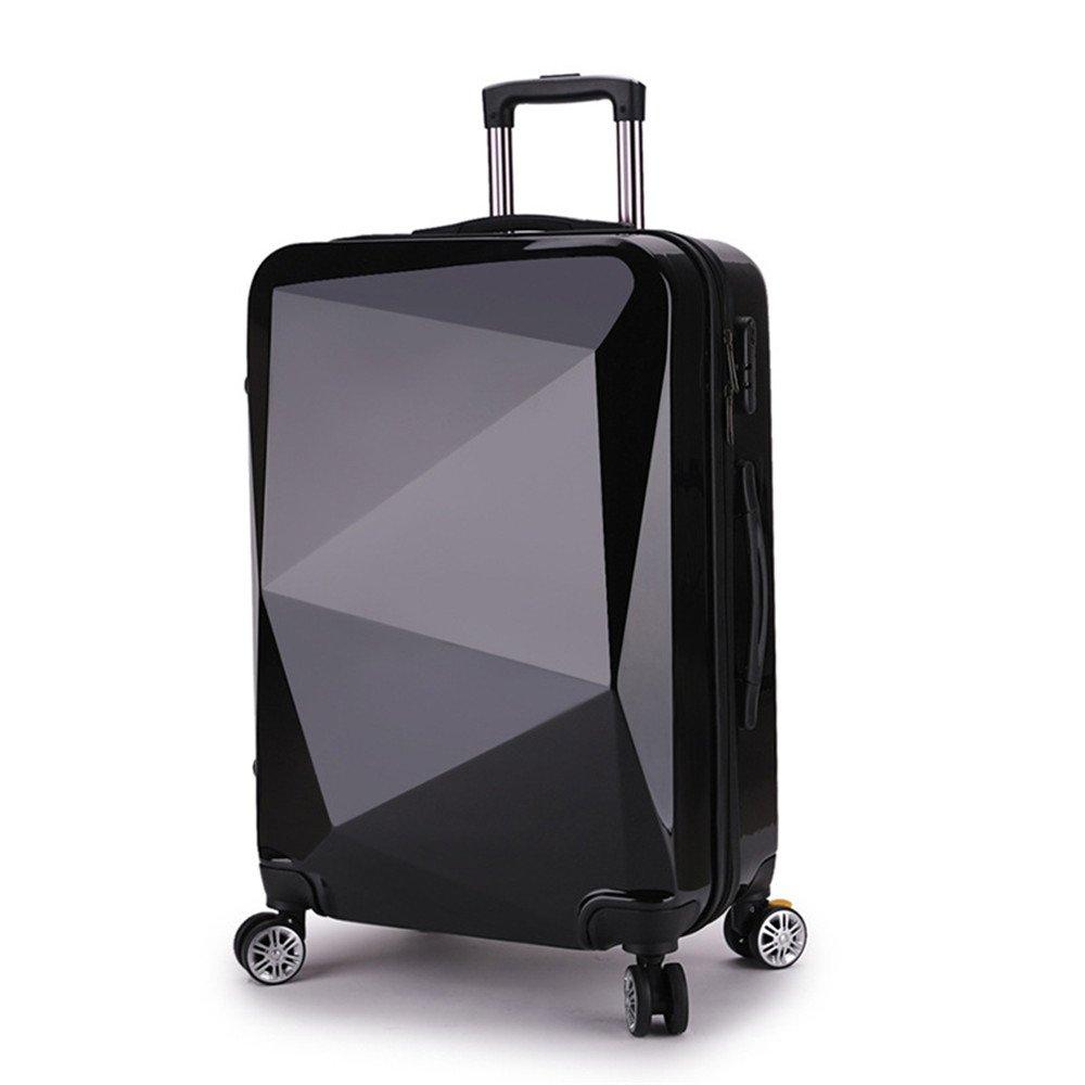 スーツケース ミラーPC素材のスーツケース20インチ搭乗プルロッドボックス付きロックと360°サイレントスピナー多方向ホイール 大容量旅行スーツケース (色 : ブラック) B07RSFGGYY ブラック