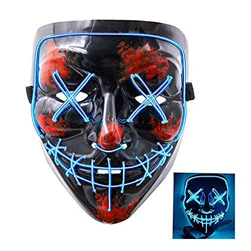 SZMAITOU EL Wire Mask Flashing Cosplay LED Costume Masks for Men Women, V-Shape Glowing Masks for Halloween Christmas Holiday Parties Bar Acting Decoration - Blue Light]()