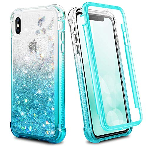 Ruky iPhone Xs Max Case, Full Body Rugged Glitter Liquid Case with Built-in Screen Protector Shockproof Protective Girls Women Phone Case for iPhone Xs Max 6.5 inches (2018 Release) (Gradient Teal)