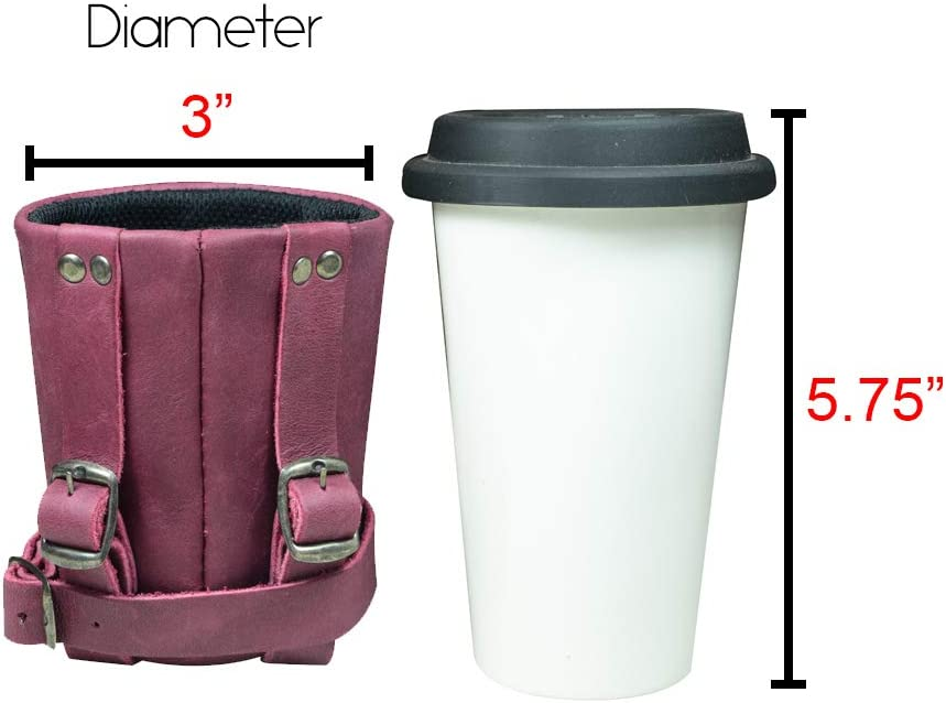 Hide /& Drink City Nomads Minimalist Bikers Cruzy Leather Bike Handlebar Cup Holder Cyclers Insulated Beverage Pouch for Commuters Urban Nomad Handmade Includes 101 Year Warranty :: Sangria