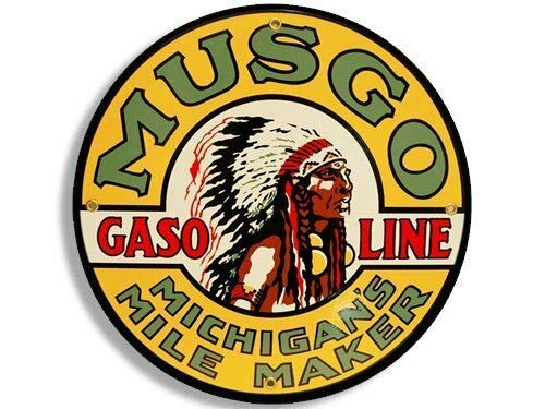 - MAGNET 4x4 inch Round Vintage Musgo Gas Sticker (Gasoline Logo Old Rat Rod) Magnetic vinyl bumper sticker sticks to any metal fridge, car, signs